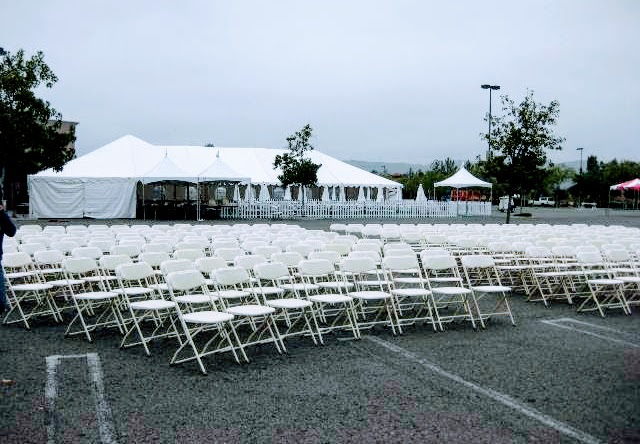 WHITE WEDDING CHAIR SET UP