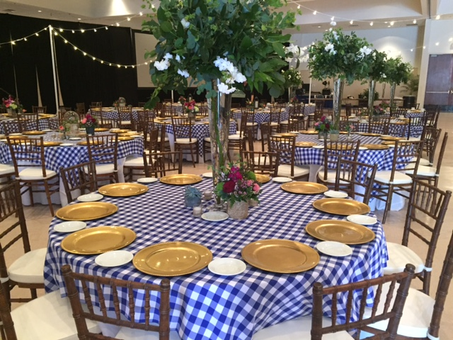 Blue & white check table cloths