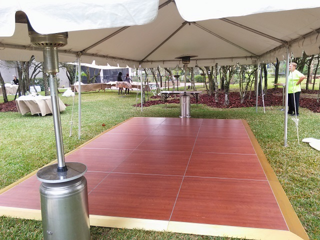 15X30 CALIFORNIA FRAME TENT WITH OUR CHERRY WOOD DANCE FLOOR AND PORTABLE HEATERS