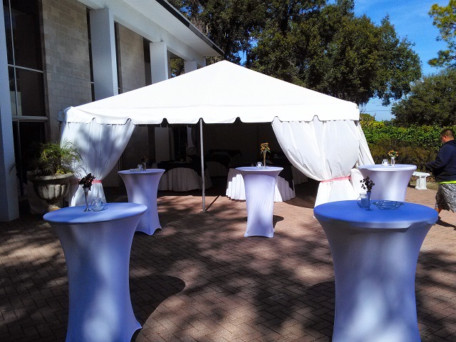 CALIFORNIA FRAME AND HIGH TOP TABLES WITH OUR SPANDEX LINEN COVERS