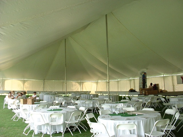 INSIDE OF ONE OF OUR LARGE POLE TENTS