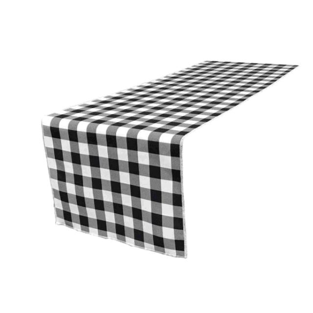 Where to find LINEN 13X108 BLACK   WHITE CHECK RUNNER in Winter Haven