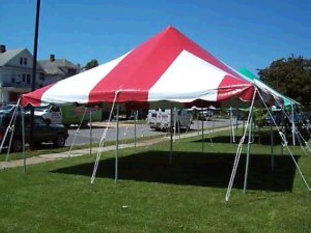 Where to find TENT 20X20 POLE RED   WHITE in Winter Haven
