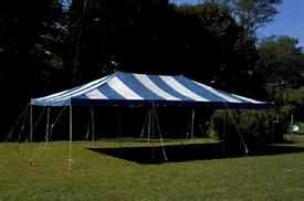 Where to find TENT 20X40 POLE BLUE   WHITE in Winter Haven